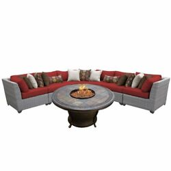 TKC Florence 6 Piece Patio Wicker Fire Pit Sectional Set in Red