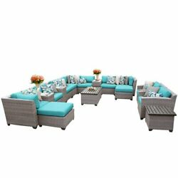 TKC Florence 17 Piece Patio Wicker Fire Pit Sofa Set in Turquoise