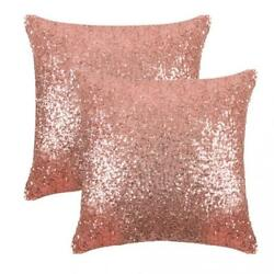 Throw Pillow Covers Champagne Blush Sequin Satin Home Bed Sofa Decor Gift New $27.71