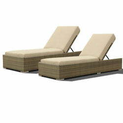 Pack of 2 Outdoor Lounge Wicker & Rattan Chaise Patio Daybed Adjustable Baskrest