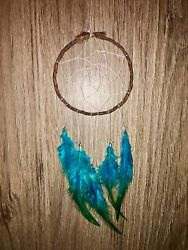 Blue and brown dreamcatcher teal white boho small bedroom decor  $15.00