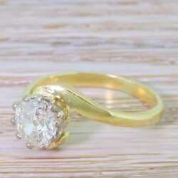 LATE 20th CENTURY 0.98ct OLD CUT DIAMOND ENGAGEMENT RING - 18k Gold - d. 1989