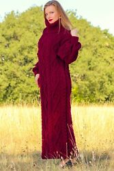 New red cable dress designer hand knit long merino wool fashion gown SUPERTANYA