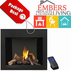 NAPOLEON HDX40NT  DIRECT VENT GAS FIREPLACE BLACK SURROUND & REMOTE PACKAGE