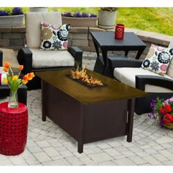 American Fire Products Carmel Chat Height Rectangle Metal Top Gas Fire Pit