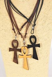 Large wooden ankh necklace - adjustable