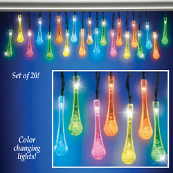9 Ft. Long Solar Color Changing Raindrops Porch Patio Garden Light String