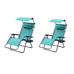 Set of 2 Oversize Zero Gravity Patio Lounge Chair - Green