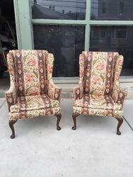 STATELY PAIR OF SEMI ANTIQUE HIGH QUALITY WING CHAIRS FRAMES FOR REUPHOLSTERING