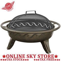 Small Bowl Fire Pit Outdoor Patio Wood Fireplace Screen Round Heater Burner Deck