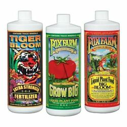 Fox Farm Soil Trio Nutrients Bundle Big Bloom Grow Big Tiger Bloom Quart 32oz $42.98