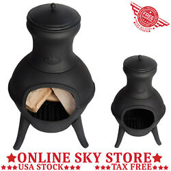 Small Outdoor Balcony Chiminea Wood Burning Fire Pit Fireplace Heater Cast Iron