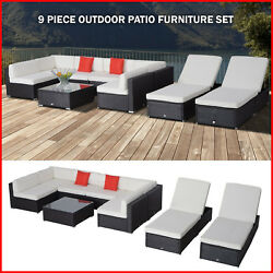 Outdoor Patio Rattan Wicker Sofa Chair Sectional and Chaise Lounge Furniture Set