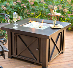 Outdoor Tabletop Gas Fire Pit Patio Table Top Propane Rustic Steel Fireplace