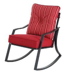 Steel Rocking Chair Outdoor Seat w Reversible Cushion Furniture for Patio Garden