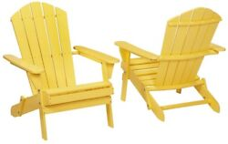 Folding Outdoor Patio Chair Lawn Garden Adirondack Hampton Bay Buttercup 2-Pack