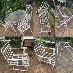 11 Piece Outdoor Table Chairs Vintage Wrought Iron Patio Furniture