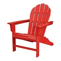 Patio Adirondack Chair Contoured Seat Curved Back Stain Resistant Sunset Red