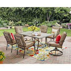 Outdoor Dining Set 7 Piece Patio Garden Furniture Swivel Chairs Table Yard Deck