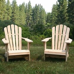 Shine Company Cedar Adirondack Chair Pair with Side Table - 3 pc. Set Natural
