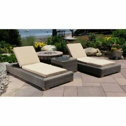 Madbury Road Corsica All Weather Wicker Patio Chaise Lounge - Set of 3 Tan