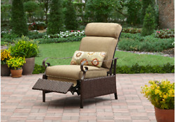 Better Homes And Gardens Outdoor Patio Cushioned Recliner All-weather Chair Tan