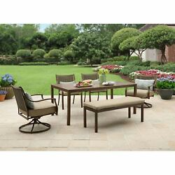 Patio Dining Set Outdoor Garden Furniture Yard Chairs Table Bench Deck 6 Piece