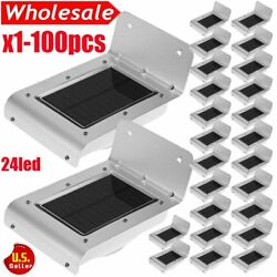 (QTY 1-100X) 1Solar Motion Sensor Wall Light 24 LED Outdoor Garden Shed Lamp VP