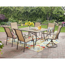 7 Piece Patio Dining Set Outdoor Garden Furniture Swivel  Table Chairs Yard Deck