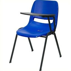 Flash Furniture Blue Ergonomic Shell Chair with Left Handed Flip-Up Tablet Arm