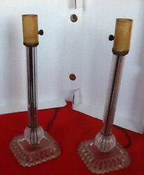 Vintage Depression Glass Electric Lamps 14 Inches Tall $130.99