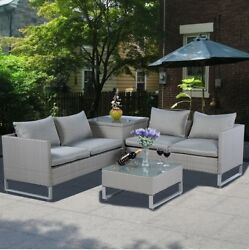 Lawn Furniture Sets Patio Sofa Set Table Outdoor for Women Men Cushions Best 4pc