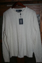 NEW Polo Ralph Lauren Mens M 100% Cashmere Italian Yarn Cream Sweater