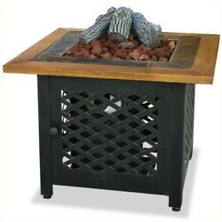 Pemberly Row LP Gas Outdoor Firebowl with Slate and Faux Wood Mantel