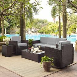 Crosley Furniture Palm Harbor All Weather Wicker 5 Piece Conversation Set