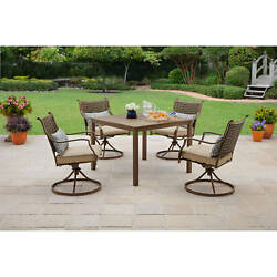 Patio Dining Set Outdoor Garden Furniture 5 Piece Yard Swivel Chairs Table Deck