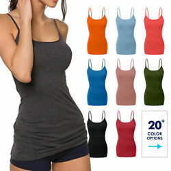 Women#x27;s Cami Tank Top Tops Long Layering Casual Basic Camisole Plain Plus S 3XL $8.99