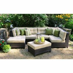 AE Outdoor 4-Piece All Weather Hillborough Sectional Outdoor Furniture Beige