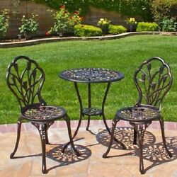 Outdoor Bistro Patio Furniture Set Yard Garden Table Chairs Dining Cast Aluminum