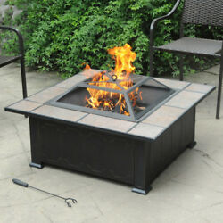 Fire Pit Table Set With Lid Patio Coffee Small Outdoor With Fireplace Backyard