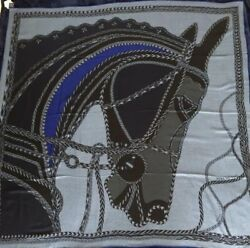 Hermes Carre 140 Shawl Stole Scarf ROBE DU SOIR Cashmere Silk Horse Animal New