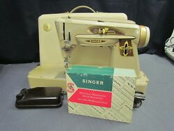 Vintage 1961 Singer 503A W Carrying Case Sewing Supplies & Original Manual