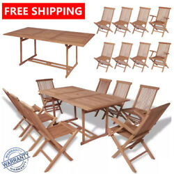 Outdoor Stylish Dining Set 9 Pieces Teak Garden Dining Table And Folding Chairs