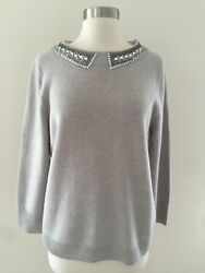 J.CREW COLLECTION CASHMERE JEWELED-COLLAR SWEATER  SIZE L 08189 GREY