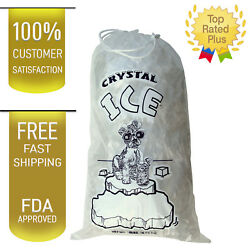 10 LB LBS 1.5 Mil Plastic Commercial Ice Bag Bags With Cotton Drawstring 100 PCs $17.94