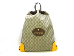 Auth GUCCI GG Supreme Canvas Drawstring Bag Bag pack 473872 Backpack