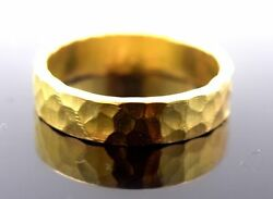 22K GOLD HANDMADE RING BAND INDIAN HAND CRAVED UNISEX JEWELRY
