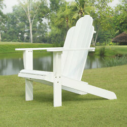 Outdoor Folding Adirondack Chair Patio Deck Garden in White Faux Wood Finish