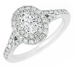 Oval Shape GIA Certified Diamond Engagement Double Halo Split shank Ring with...