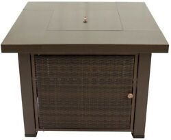 Pleasant Hearth Gas Fire Pit Table 38 in. Square Wicker Stainless Steel Burner